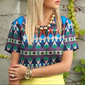 J Crew Women's Multicolor Gemstone Floral Silk Top